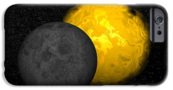 Solar Eclipse Digital iPhone Cases - Partial Eclipse Of The Sun iPhone Case by Elena Duvernay