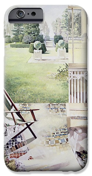 Patio Table And Chairs iPhone Cases - Partie de Campagne iPhone Case by Jeremy Annett