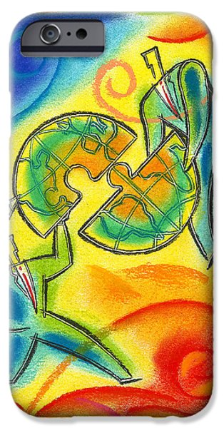 Merging Paintings iPhone Cases - Partnership iPhone Case by Leon Zernitsky