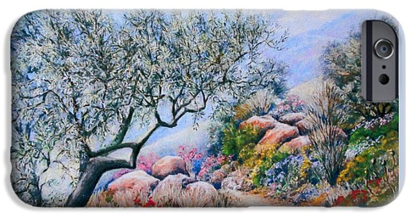 Tree Print Pastels iPhone Cases - Paseo de Flores iPhone Case by Rosemary Colyer