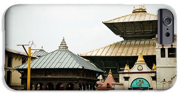 Tibetan Buddhism iPhone Cases - Pashupatinath Temple iPhone Case by Raimond Klavins