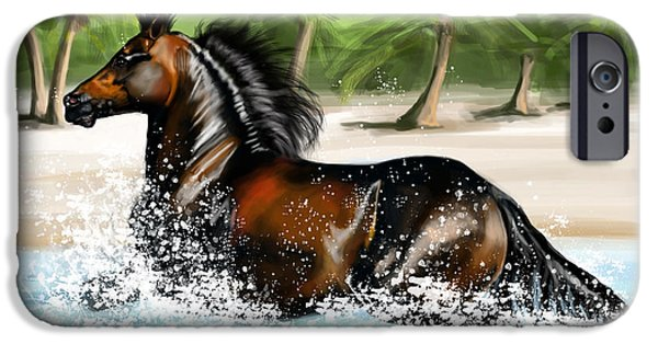 Paso Fino Stallion iPhone Cases - paso FIno in ocean iPhone Case by Michelle Hand