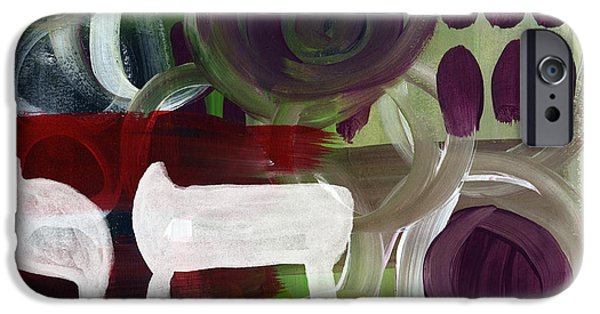 Red Abstract iPhone Cases - Passages- Abstract Painting iPhone Case by Linda Woods