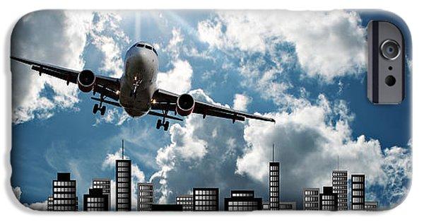 Virtual iPhone Cases - Passenger jet set against cityscape illustration iPhone Case by Ken Biggs