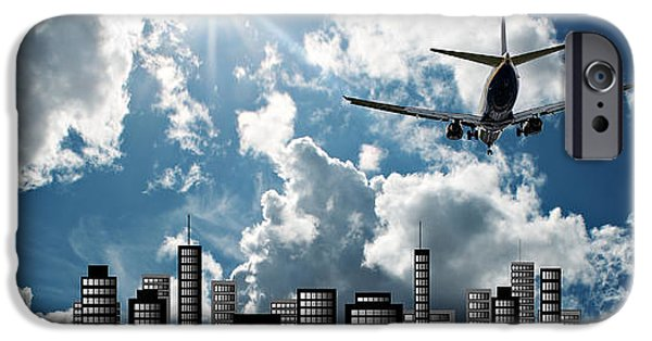 Virtual iPhone Cases - Passenger jet set against sunshine sky with cityscape illustrati iPhone Case by Ken Biggs