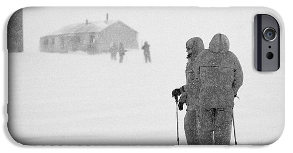 Harsh Conditions iPhone Cases - Passengers From Expedition Ship On Shore Excursion To Whalers Bay Antarctica iPhone Case by Joe Fox