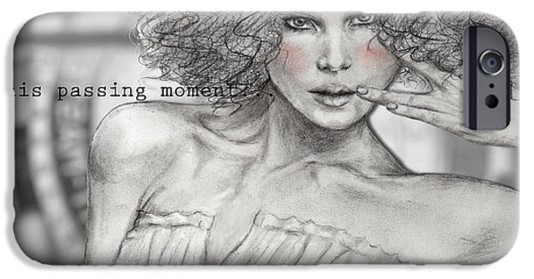 Monotone Drawings iPhone Cases - Passing Moment iPhone Case by Junko Van Norman