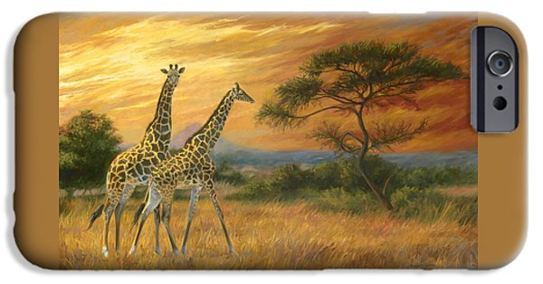 Giraffes iPhone Cases - Passing Through iPhone Case by Lucie Bilodeau