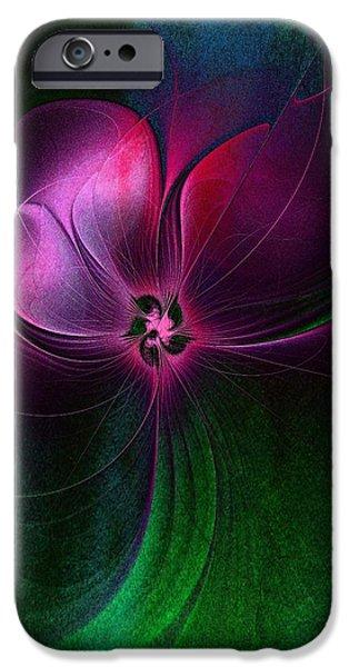 Floral Digital Art Digital Art iPhone Cases - Passion Flower iPhone Case by Amanda Moore