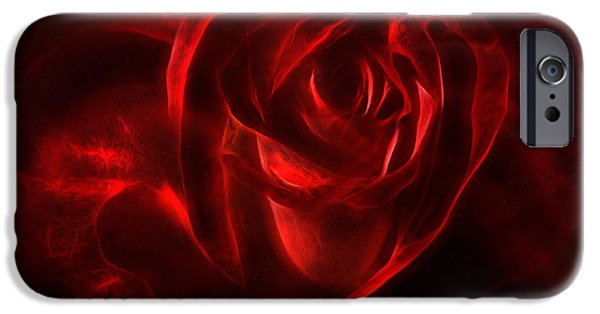 Macro Mixed Media iPhone Cases - Passion Rose Bathed In Red - Abstract Realism iPhone Case by Georgiana Romanovna