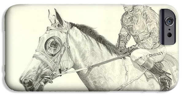 Horse Racing Drawings iPhone Cases - Passion to Race  iPhone Case by Leonie Bell
