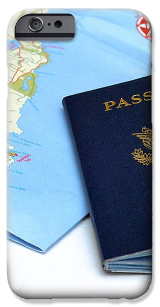 Passport and map of Bermuda iPhone Case by Amy Cicconi