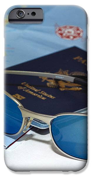 Passport sunglasses and map iPhone Case by Amy Cicconi
