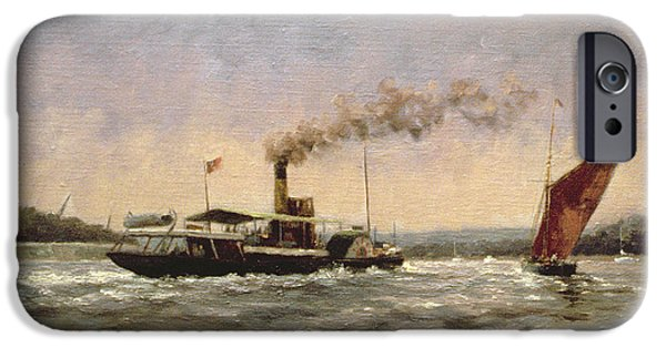 Steamboat iPhone Cases - Past On The Medway iPhone Case by Vic Trevett