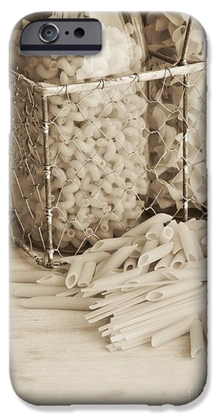 Spaghetti iPhone Cases - Pasta Sepia Toned iPhone Case by Edward Fielding