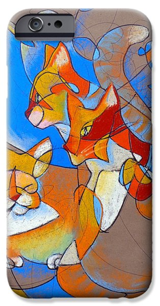 Clouds Pastels iPhone Cases - Pastel 51 - Cats iPhone Case by Steve Emery