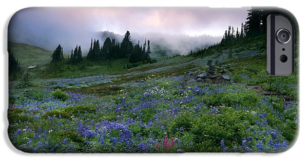 Meadow Photographs iPhone Cases - Pastel Mountain Dawn iPhone Case by Mike Dawson