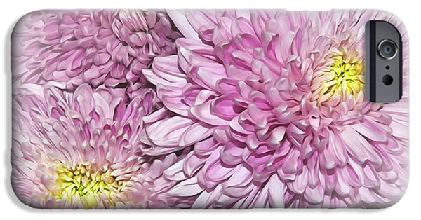 Floral Digital Art Digital Art iPhone Cases - Pastel Pink Mums iPhone Case by Kaye Menner