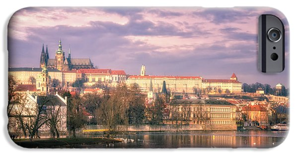 Charles River iPhone Cases - Pastel Prague Morning iPhone Case by Joan Carroll