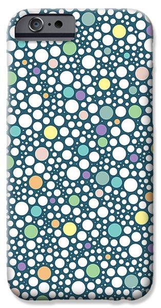 Pastel iPhone Cases - Pastel puzzle bubble Blue iPhone Case by Freshinkstain