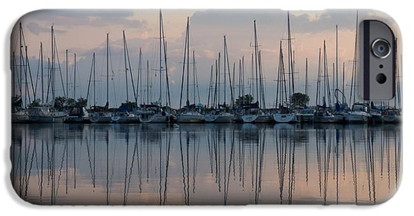 Sailboat Ocean iPhone Cases - Pastel Sailboats Reflections at Dusk iPhone Case by Georgia Mizuleva