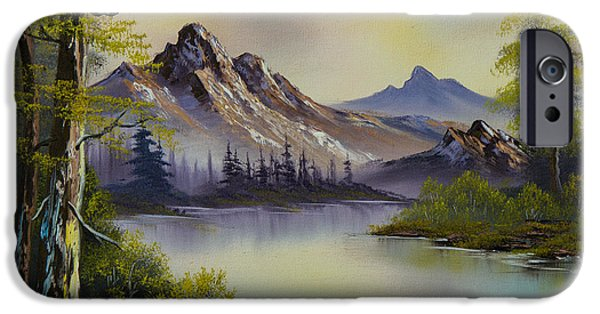 Bob Ross Paintings iPhone Cases - Pastel Skies iPhone Case by C Steele