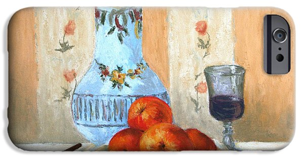 Red Wine Pastels iPhone Cases - Pastel Study iPhone Case by Marna Edwards Flavell