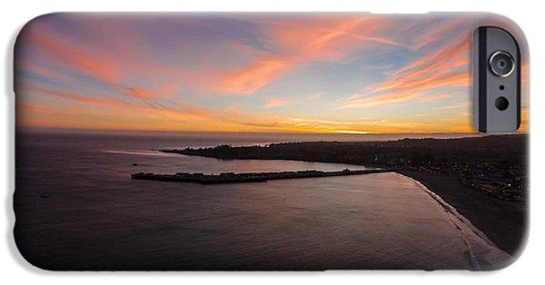 Santa Cruz Wharf iPhone Cases - Pastel Sunset Above Santa Cruz Wharf iPhone Case by David Levy