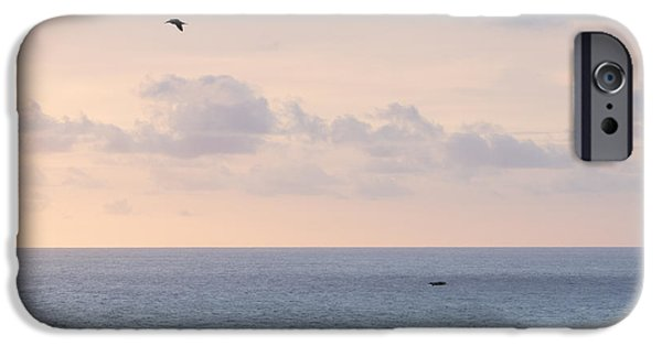 Ocean Photos iPhone Cases - Pastel Sunset Sky at the Ocean Seascape with Flying Birds Photo Art Print iPhone Case by Ocean Photos
