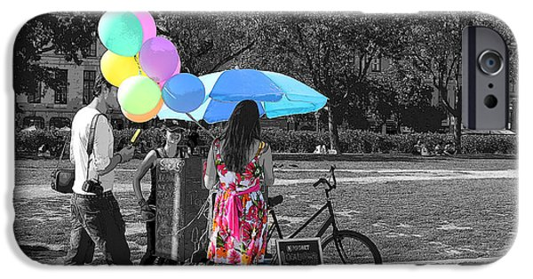 Balloon Vendor iPhone Cases - Pastels In The Park iPhone Case by Nina Silver