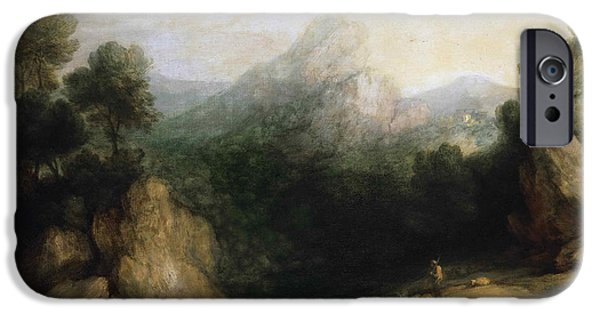 Landscape With Mountains iPhone Cases - Pastoral Landscape. Rocky Mountain Valley with a Shepherd Sheep and Goats iPhone Case by Thomas Gainsborough
