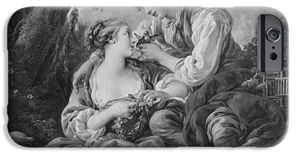 Couple Drawings iPhone Cases - Pastoral scene iPhone Case by Francois Boucher