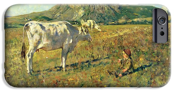 Young Paintings iPhone Cases - Pasture in Pietramala iPhone Case by Telemaco Signorini