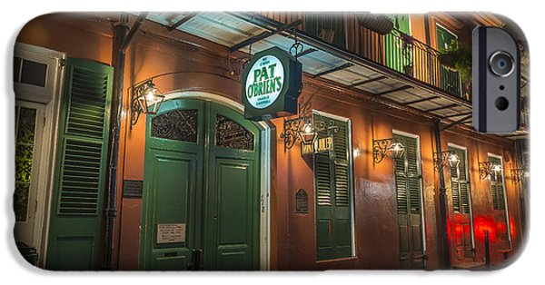 Hurricane Lamp iPhone Cases - Pat OBriens New Orleans iPhone Case by David Morefield