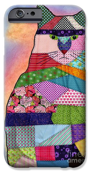 Geometric Animal iPhone Cases - Patchwork Kitty iPhone Case by Juli Scalzi
