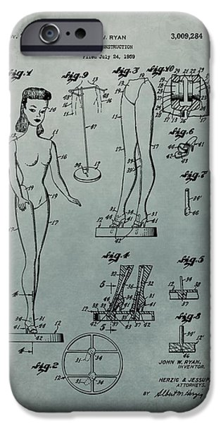 Toy Store iPhone Cases - Patent Art Barbie Doll iPhone Case by Dan Sproul