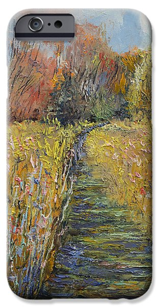 Michael Paintings iPhone Cases - Path in the Meadow iPhone Case by Michael Creese