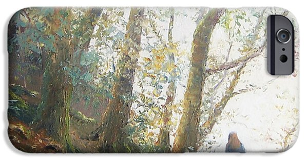 Landscape With Figure iPhone Cases - Path in the woods iPhone Case by Jan Matson