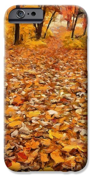 Fallen Leaf iPhone Cases - Path of Fallen Leaves iPhone Case by Edward Fielding