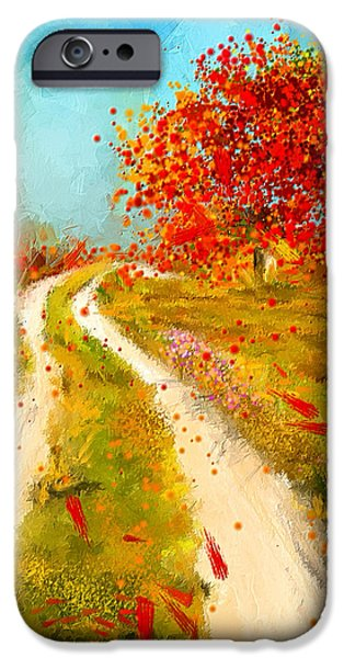 Pastoral iPhone Cases - Path To Change- Autumn Impressionist Painting iPhone Case by Lourry Legarde