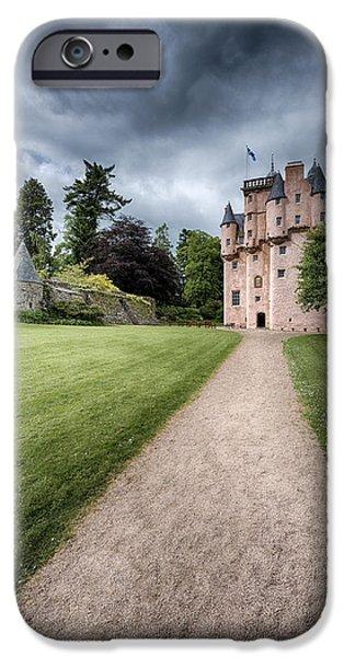 Historic Buildings iPhone Cases - Path to Craigievar Castle iPhone Case by Dave Bowman
