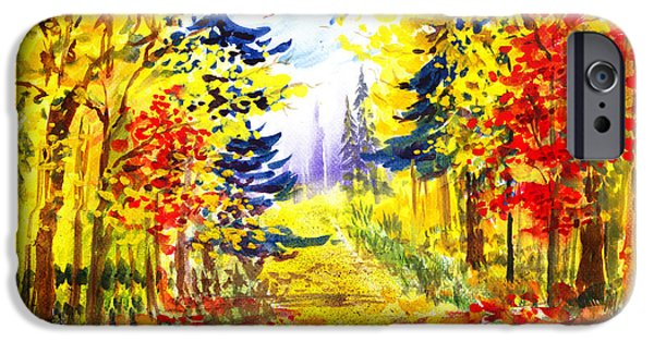 Fall Scenes iPhone Cases - Path To The Fall iPhone Case by Irina Sztukowski