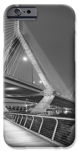 Charles River iPhone Cases - Path To The Leonard P. Zakim Bridge BW iPhone Case by Susan Candelario