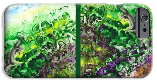 Abstract Movement iPhone Cases - Path To The Unknown Diptych In Green iPhone Case by Irina Sztukowski