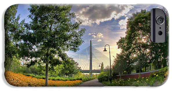 City. Boston iPhone Cases - Path to Zakim-Boston iPhone Case by Joann Vitali