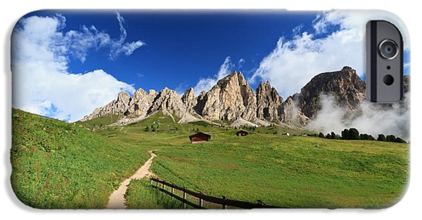 Meadow Photographs iPhone Cases - pathway in Italian Dolomites iPhone Case by Antonio Scarpi