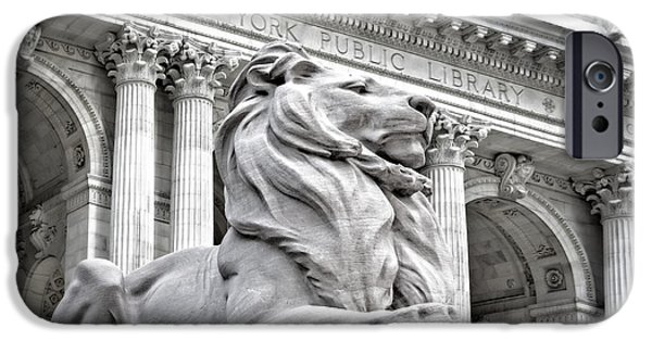Landmark iPhone Cases - Patience The NYPL Lion iPhone Case by Susan Candelario