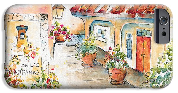 Terra Paintings iPhone Cases - Patio De Las Campanas  iPhone Case by Pat Katz