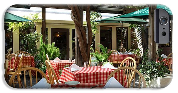 Table Wine iPhone Cases - Patio Dining At The Swiss Hotel In Downtown Sonoma California 5D24439 iPhone Case by Wingsdomain Art and Photography