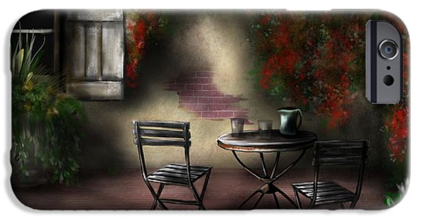 Table Wine iPhone Cases - Patio Garden iPhone Case by Ron Grafe